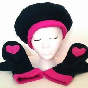 Hearts Hat Mittens Navy Pink by Have Heart Daily